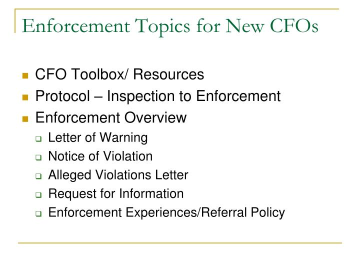 Enforcement Topics for New CFOs