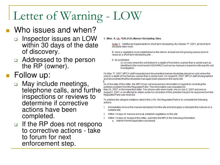 Letter of Warning - LOW