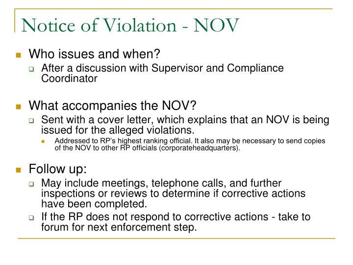 Notice of Violation - NOV