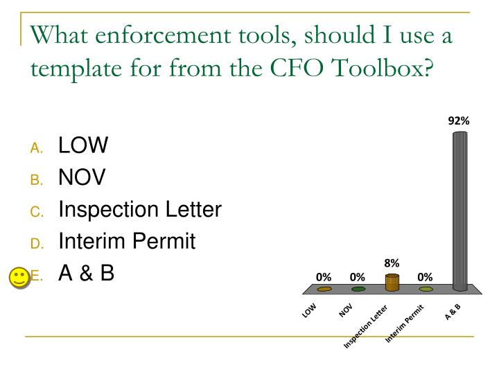 What enforcement tools, should I use a template for from the CFO Toolbox?