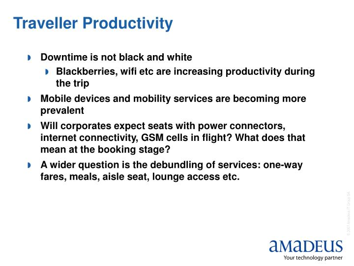 Traveller Productivity