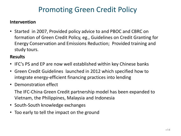 Promoting Green Credit Policy
