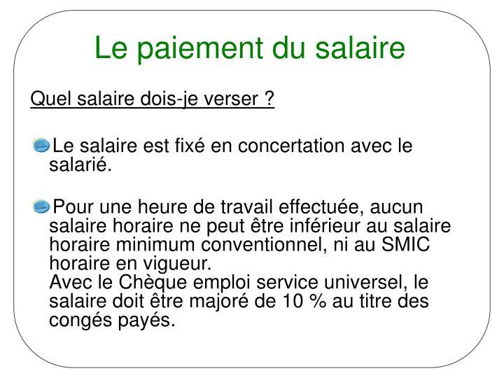 Le paiement du salaire