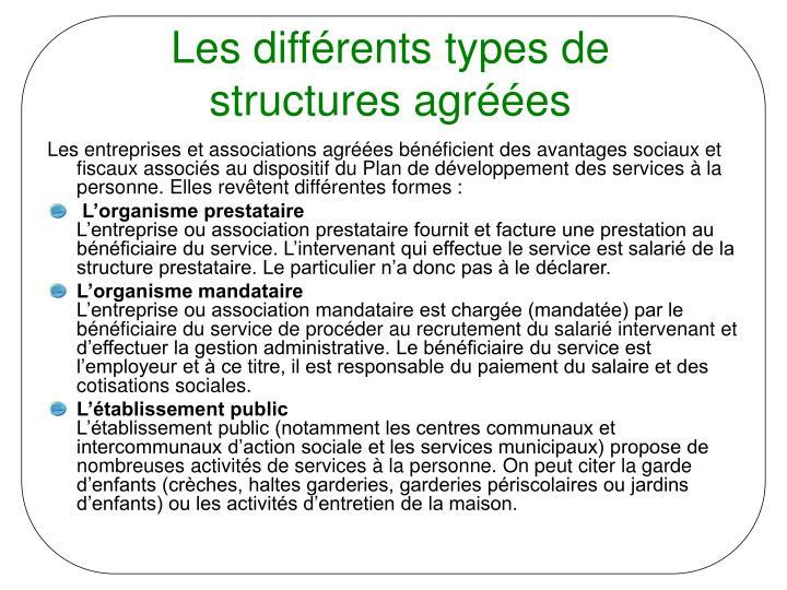 Les différents types de structures agréées