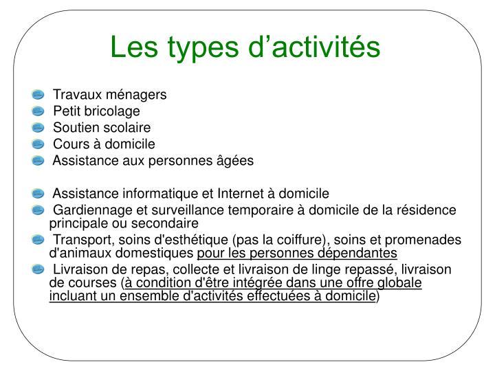 Les types d'activités