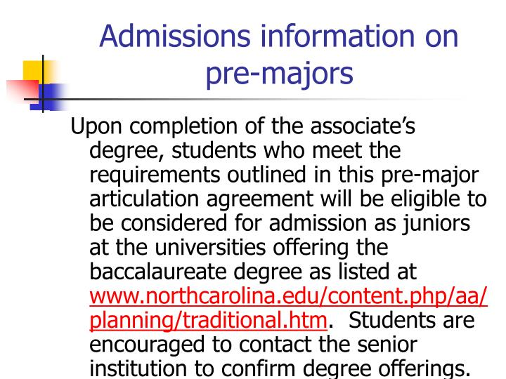 Admissions information on pre-majors