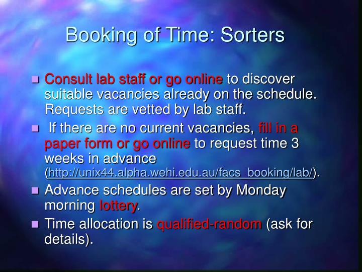 Booking of Time: Sorters