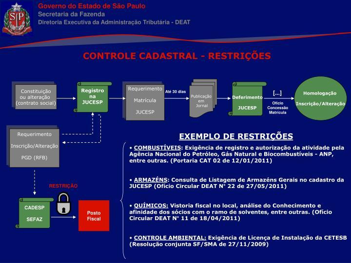 CONTROLE CADASTRAL - RESTRIÇÕES