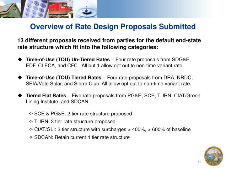 Overview of Rate Design Proposals Submitted