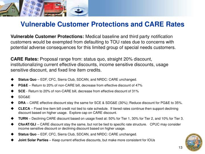 Vulnerable Customer Protections and CARE Rates