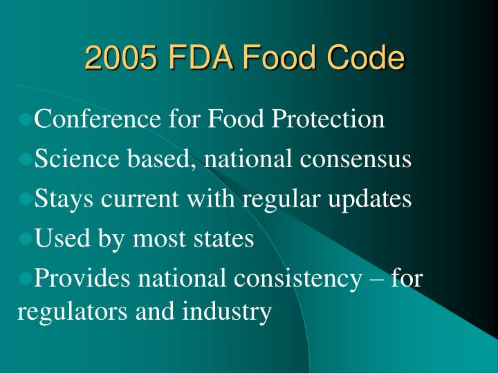 2005 FDA Food Code