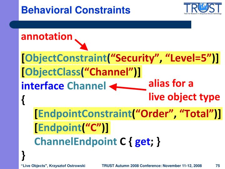 Behavioral Constraints