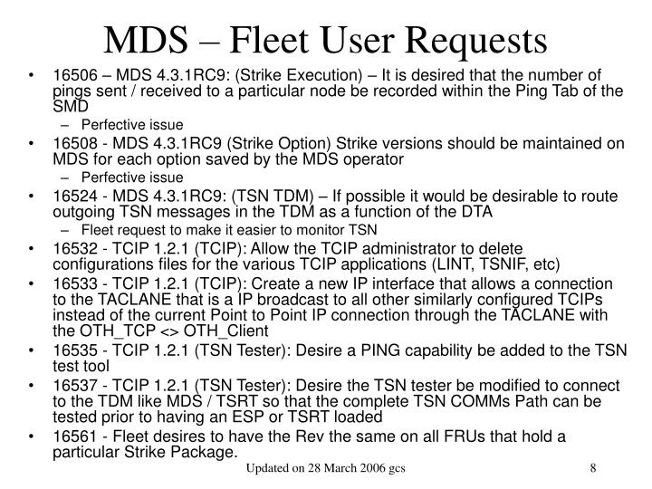 MDS – Fleet User Requests
