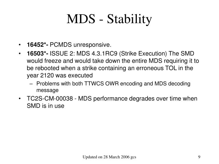 MDS - Stability