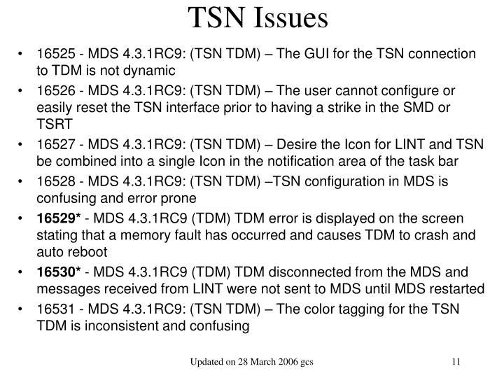 TSN Issues
