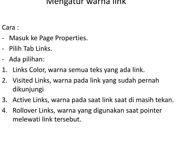 Mengatur warna link