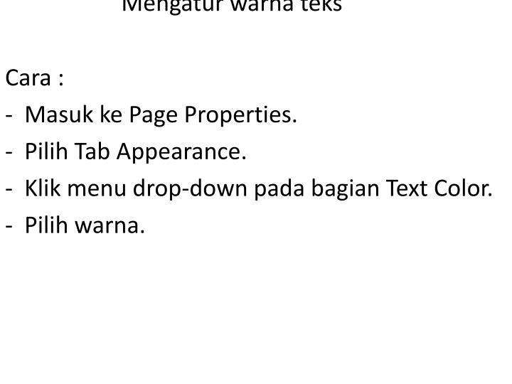 Mengatur warna teks