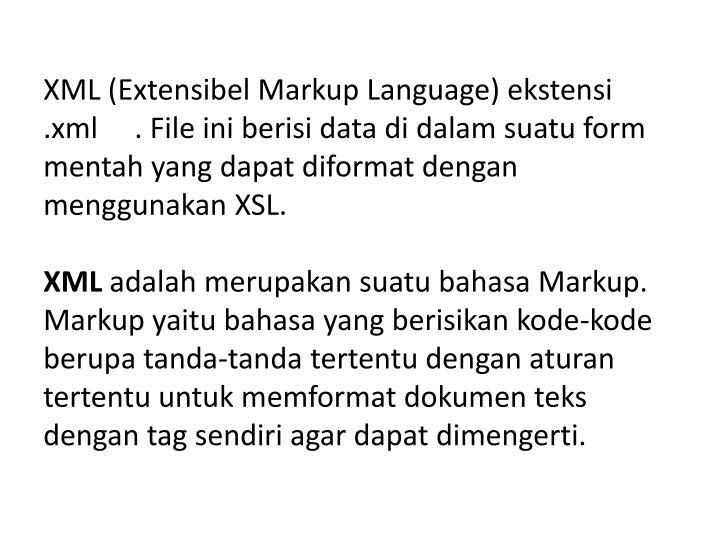 XML (Extensibel Markup Language) ekstensi .xml     . File ini berisi data di dalam suatu form mentah yang dapat diformat dengan menggunakan XSL.