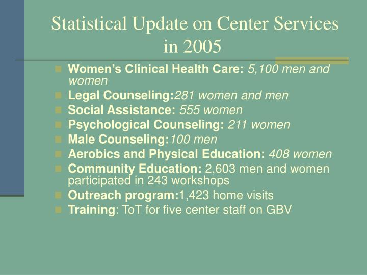Statistical Update on Center Services in 2005