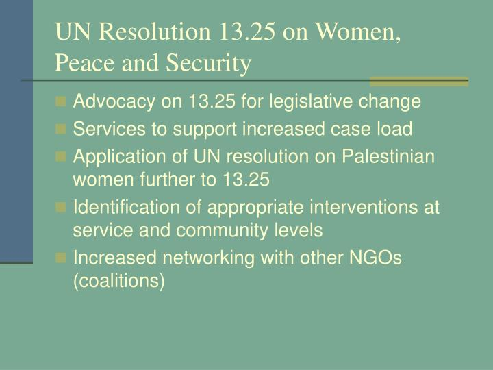 UN Resolution 13.25 on Women, Peace and Security