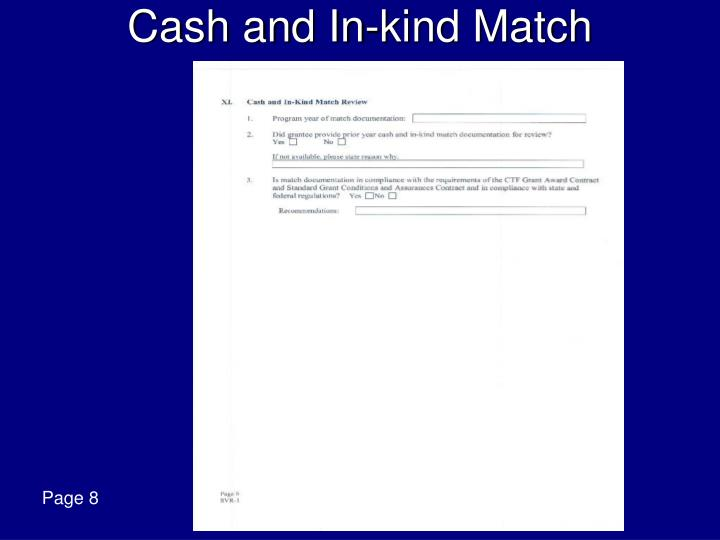 Cash and In-kind Match