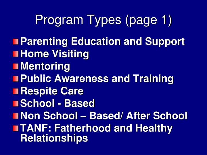 Program Types (page 1)