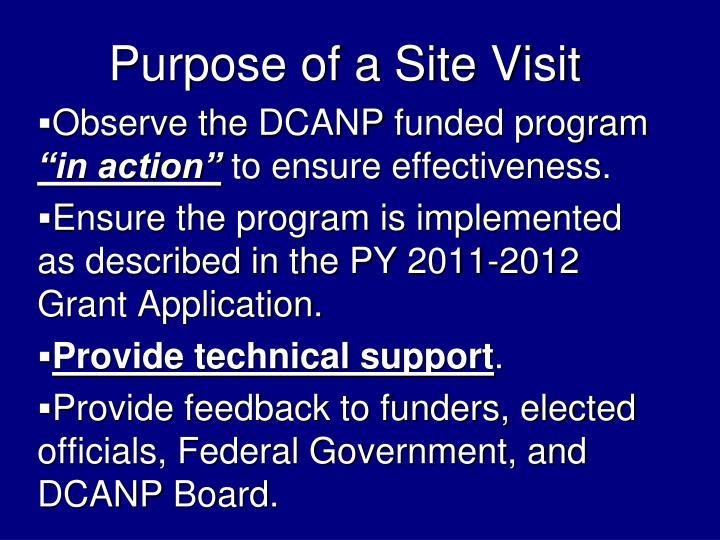 Purpose of a Site Visit