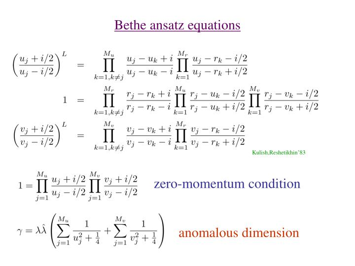 Bethe ansatz equations