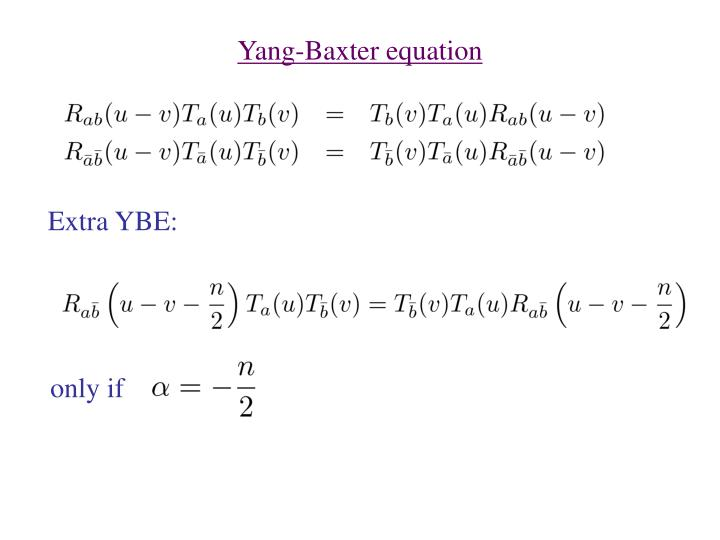 Yang-Baxter equation