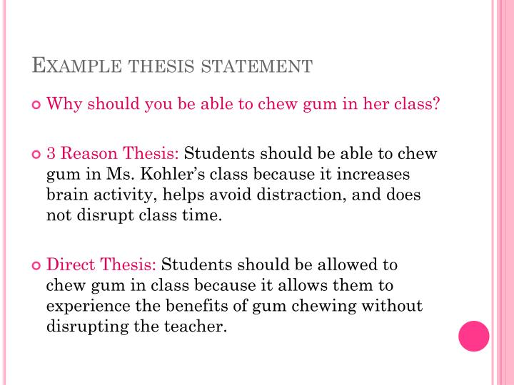 Example thesis statement