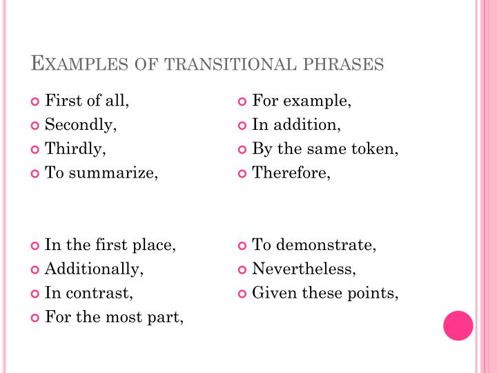 Examples of transitional phrases