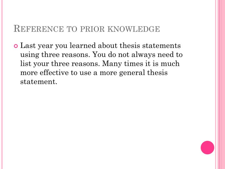 Reference to prior knowledge