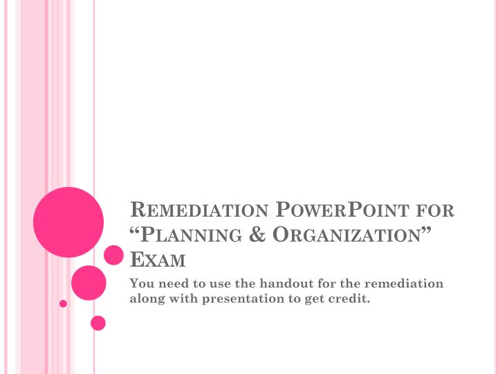 Remediation powerpoint for planning organization exam