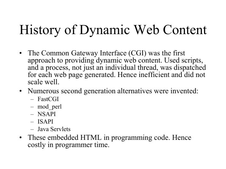 History of Dynamic Web Content