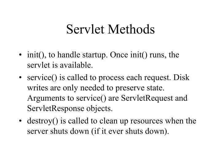 Servlet Methods