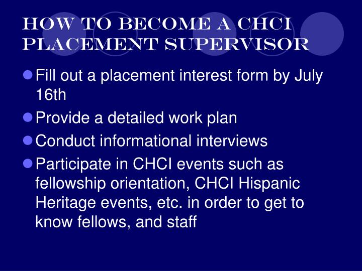 How to become a CHCI Placement Supervisor