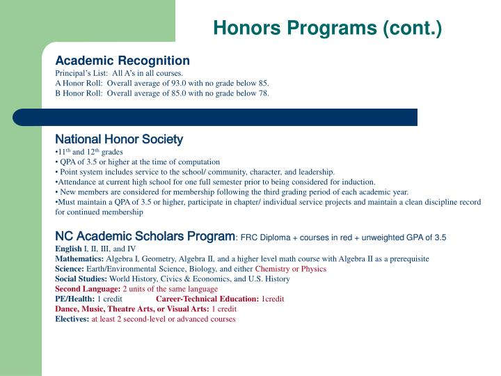 Honors Programs (cont.)