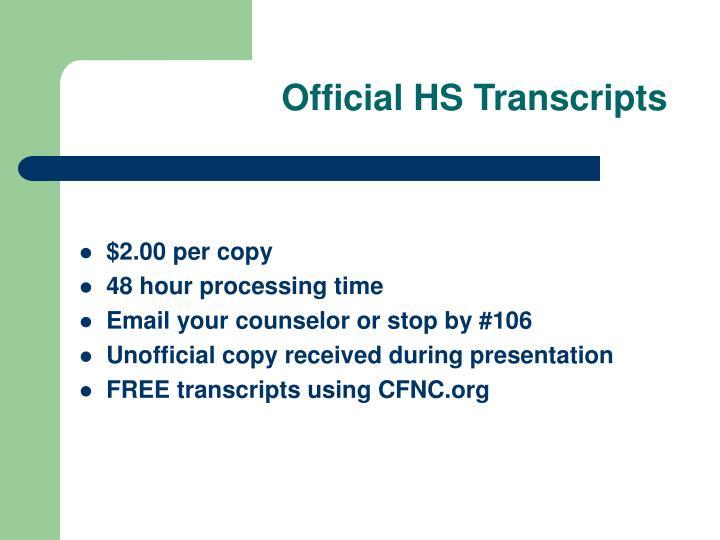 Official HS Transcripts