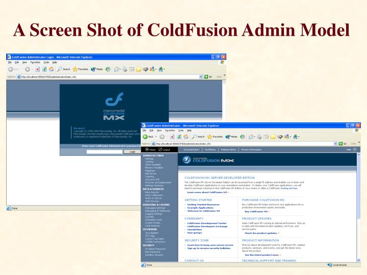 A Screen Shot of ColdFusion Admin Model