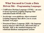 what you need to create a data driven site programming languages
