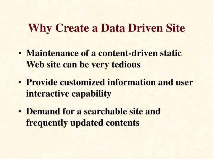 Why create a data driven site