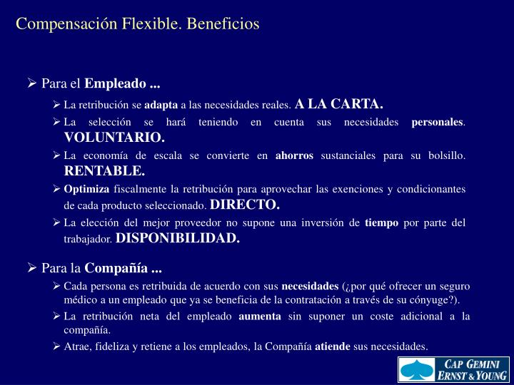 Compensación Flexible. Beneficios