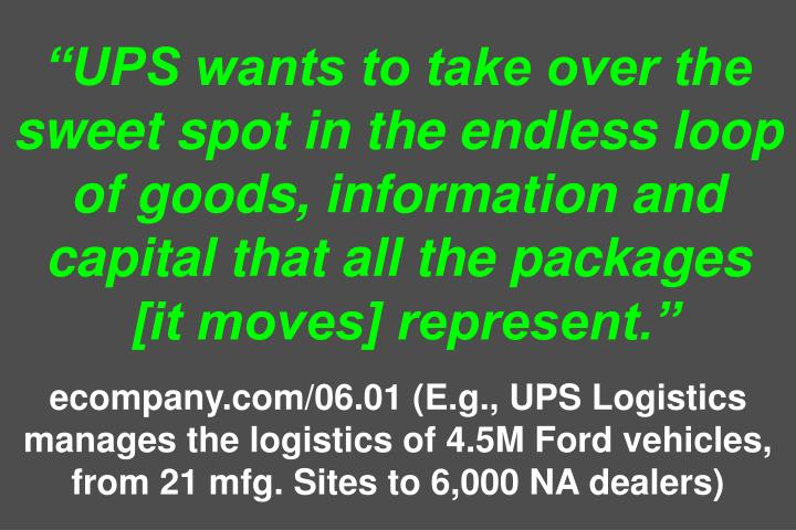 """UPS wants to take over the sweet spot in the endless loop of goods, information and capital that all the packages"