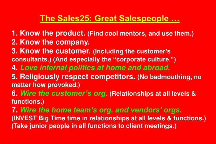 The Sales25: Great Salespeople …