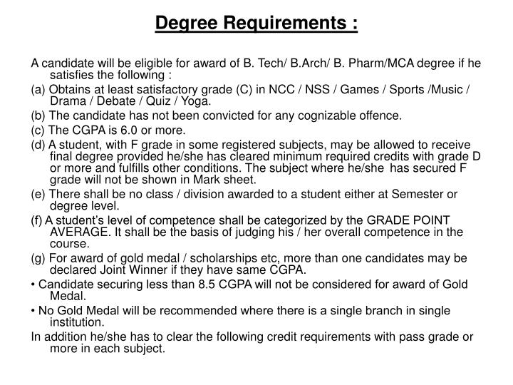 Degree Requirements :