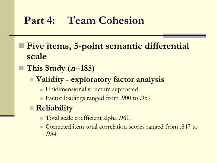 Part 4:Team Cohesion