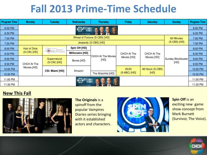 Fall 2013 Prime-Time Schedule