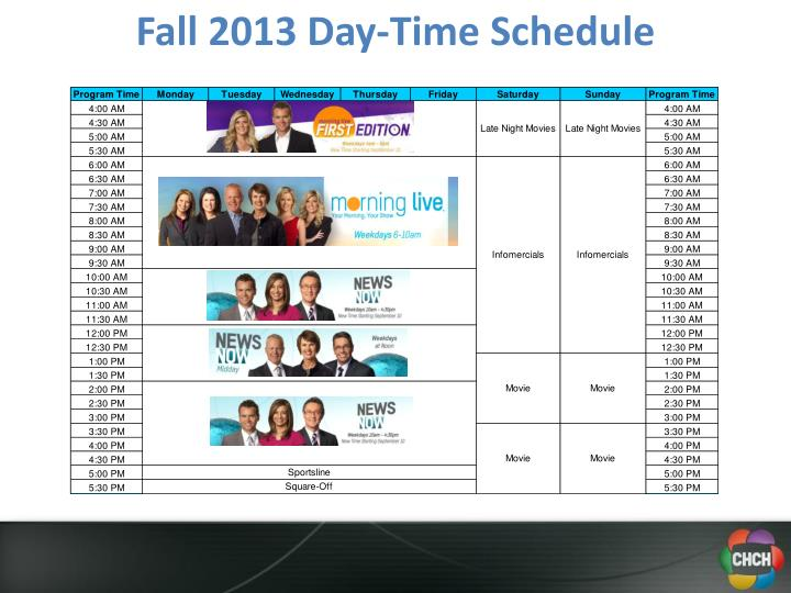 Fall 2013 Day-Time Schedule