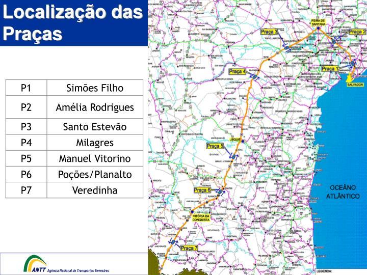 Localização das Praças