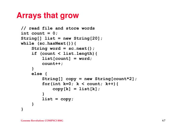 Arrays that grow